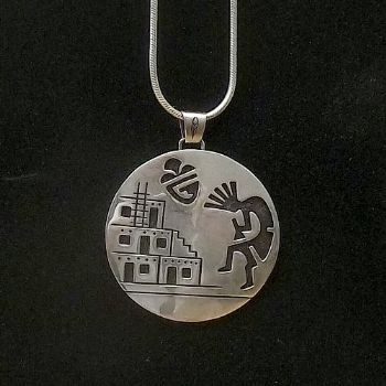 Large Sterling Silver Kokopelli Pendant